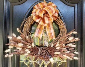 Fall Dried Floral Wreath, Farmhouse Wreath, Autumn Front Door Wreath, Grapevine, Bunny Tails, Baked Cinnamon Florals, Lotus Pods, Plaid bow