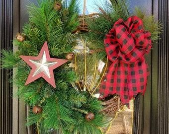 Farmhouse Wreath, Christmas Farmhouse Wreath, Rustic Wreath, Buffalo Plaid Bow, Jingle Bells, Pine Needles, Red and Silver Star,
