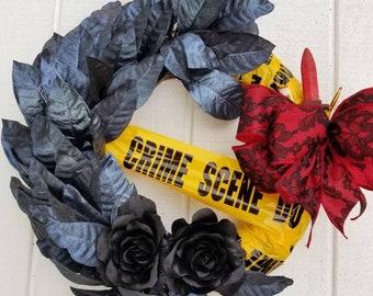 Halloween Wreath, Murder Mystery & Makeup, Halloween Glamour, Black Roses, Croton Leaves, Crime Scene Tape, True Crime, Makeup Brushes