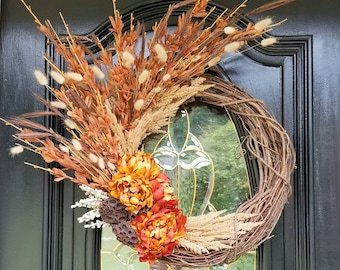 Dried Floral Wreath, Fall Front Door Wreath, Burgundy Peonies, Bunny Tails, Lotus Pods, Dried Grasses, Beige Pampas Grass, Forsythia Stems