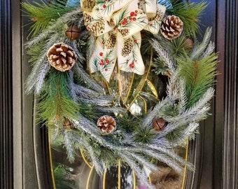 Flocked Christmas Wreath, Front Door Christmas Wreath, Rustic Farmhouse Wreath, Pine Needles, Pinecones, Jingle Bells, Pinecone Bow