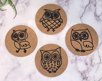 Tile Coasters Owls Coaster Set of 4 Drink Coasters Owl Decor Brown Owl Coasters