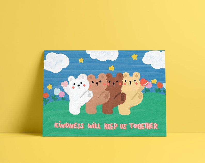 Kindness will keep us together Be Nice Postcard Bear Postcard Cute Postcard Love Postcard Penpal Postcard Cute Print