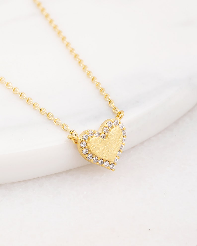 Love Necklace 18K Gold Dipped Jeweled Heart Necklace Brushed Gold Dainty Necklace Gift Idea Handmade Rose Gold Necklace
