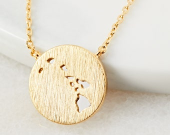 18K Gold Dipped Hawaii Pendant Necklace   HI US State Dainty Necklace   Gold Dip Necklace   Gift Idea   Cut Out Jewelry   Handmade