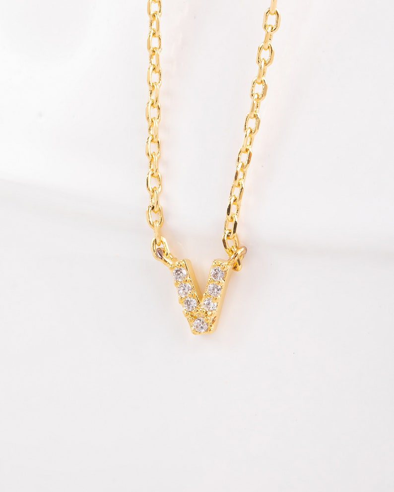 18K Gold Dipped Jeweled Initial V Necklace Handmade Gold Dip Necklace Personalized Necklace Dainty Necklace Gift Idea Letter V