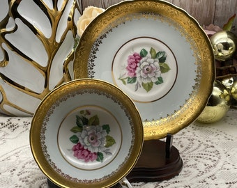 Windsor Pastel Green with Pink Camellia Sansnqua Flowers Inside Tea Cup and Saucer Made in England