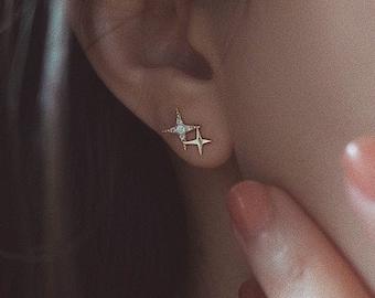 10K & 14K Solid Gold Celestial stud earrings,gold star stud,solid gold earrings,dainty gold earrings,North Star stud earrings.Solid Gold.