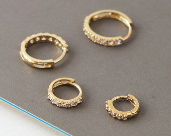 10K Solid gold 5mm 6mm 7mm 8mm 9mm 10mm 11mm cubic zirconia cartilage small huggie hoop earring,solid gold huggie earrings,solid gold hoop,