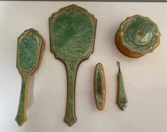 Vintage French 1920s pearlized-emerald celluloid Art Deco 5 piece vanity set from Pyramid, post-WWI