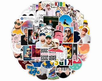 50 PCS ) Mac Miller Stickers Pack, Can Be Decorated To Car Motorcycle Trunk Refrigerator Laptop Etc Waterproof Stickers Set