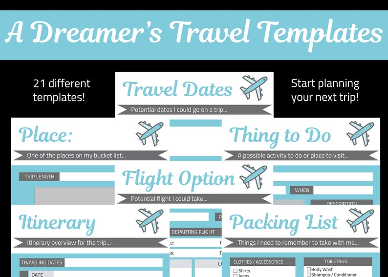 Travel Itinerary Template  A Dreamer's Travel Planning image 0
