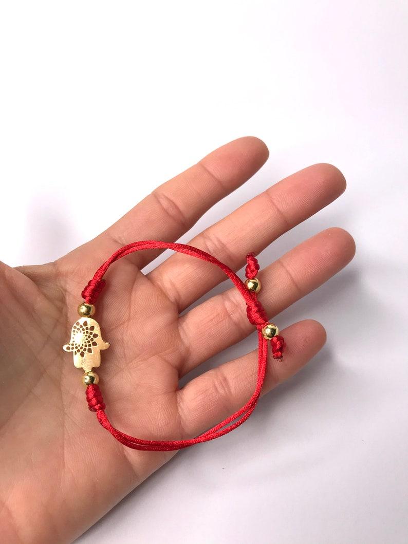 Golden Hand of Fatima Hamsa String Bracelet Red Adjustable Bracelet Hamsa Bracelet Golden Hamsa Red Bracelet Protection Bracelet