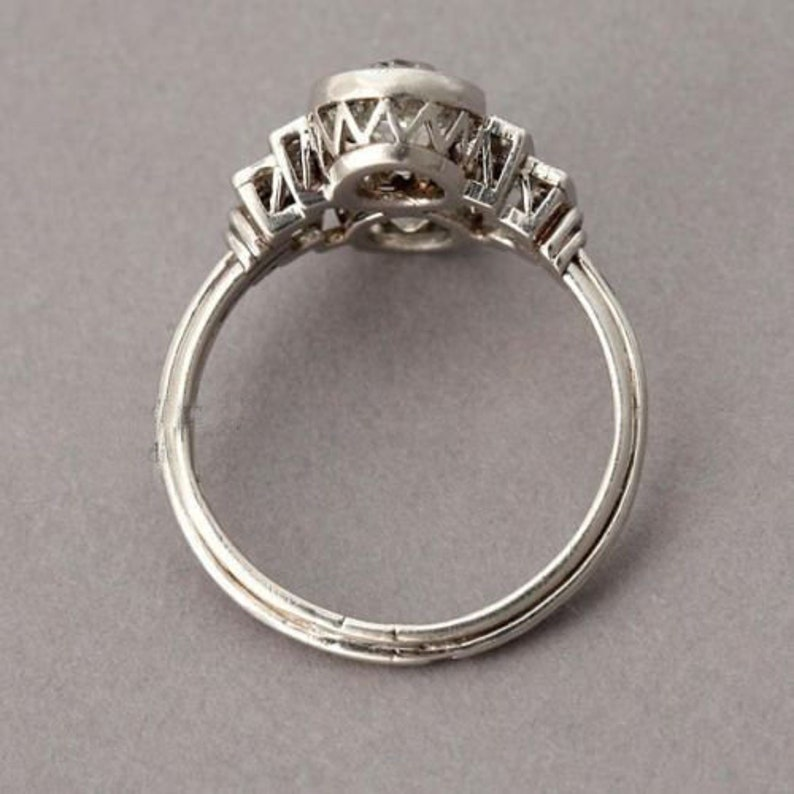 1.7ct Round Diamond 2 Stone Vintage Art deco Ring in Sterling Silver Antique Ring Engagement Ring Vintage Ring