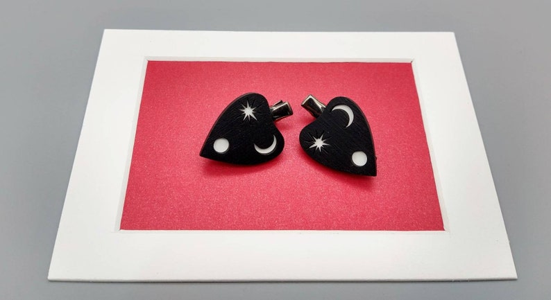 Moon and Star Planchette Hair Accessories Crescent Moon and Star Planchette Hair Clips