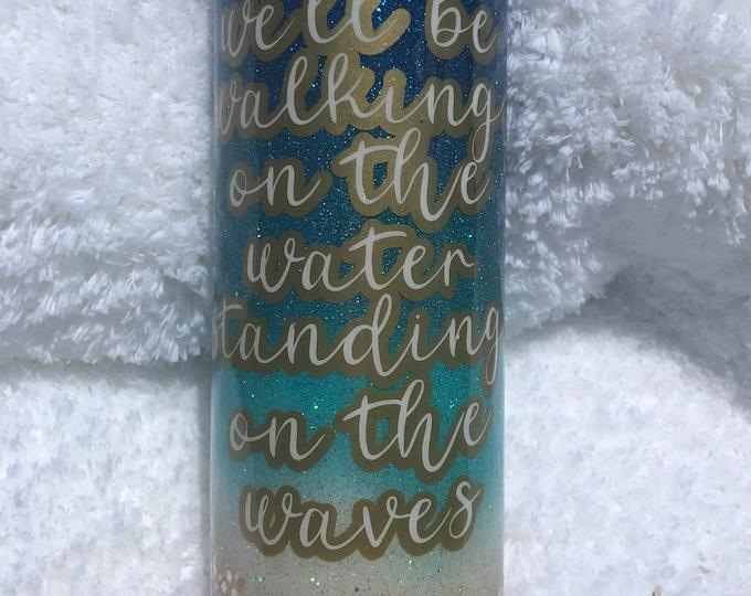 Beach tumbler, beach theme, ombré, glitter tumbler
