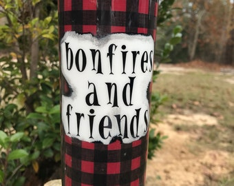 Let it Snow split with buffalo plaid, Bonfire and Friends, winter, fall, opal glitter, snow flakes