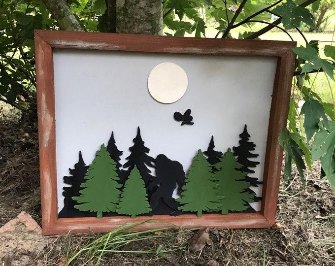 3D Wood forest, Sasquatch, scrollsaw work, handmade