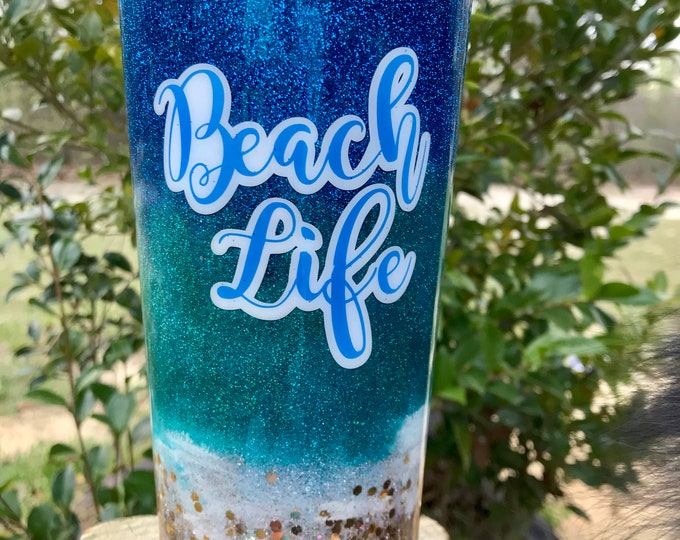 Beach Life, Glitter and alcohol ink, sea turtle and sea gulls 24 0z stainless steel tumbler