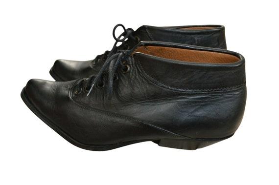 Vintage 80s 90s Western Cowboy Black LEATHER Ankle