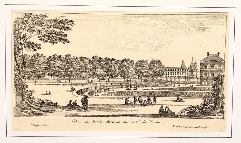 The Garden and the Palace of Luxembourg Paris 17th century etching engraving of Israel Silvestre Original print