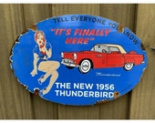 Vintage 1956 Ford Thunderbird Porcelain FOMOCO US Auto Girl Gas Oil Metal Sign Advertising Service Station Mechanic garage lubester gas pum