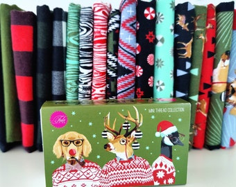 Tula Pink's Holiday Homies Flannel Half Yard Bundle and Aurifil Thread Collection!