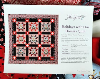 Tula Pink's Holidays With Our Homies Flannel Quilt Kit + Thread Spool