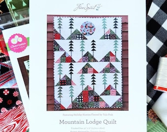 Tula Pink's Holiday Homies Mountain Lodge Flannel Quilt Kit + Thread Spool