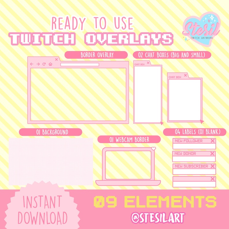 02 Twitch Overlays and 09 Elements Aesthetic Kawaii Streamer ...