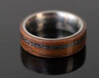 Walnut Tree Ring,Meteorid Wedding ring,8 mm Titanium Ring,Opal Ring,Engagement Ring,Wedding ring,Walnut inlay Ring,Titanium Ring