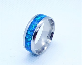 Unique gift ring for,Blue Opal Ring,Elegant Opal Ring,Opal Engagement Ring,Blue Opal Wedding ring,Opal inlay Ring,Titanium 8mm Ring