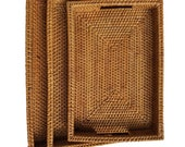 Handmade Rattan Trays With Handles Handwoven Rectangular Multi-purpose Storage Baskets Natural Rattan Set of 3 Different Sizes