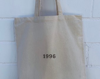 Personalized birth year fairtrade tote bag/ shopping bag / canvas bag organic 100% cotton. Aesthetic customizable Gift idea.