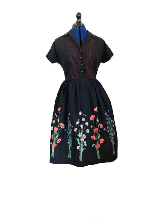 1950s Floral Border Print Day Dress