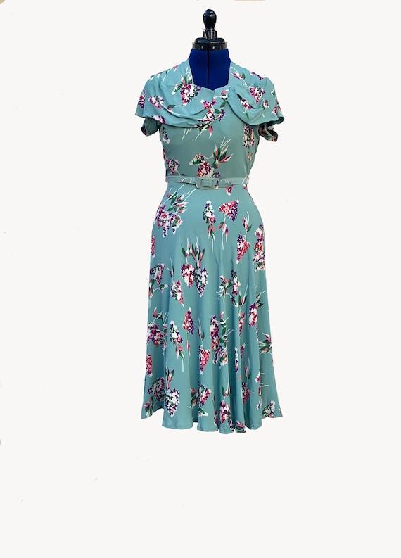 1940s Floral Print Rayon Dress