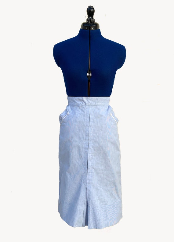1940s Blue and White Pencil Skirt