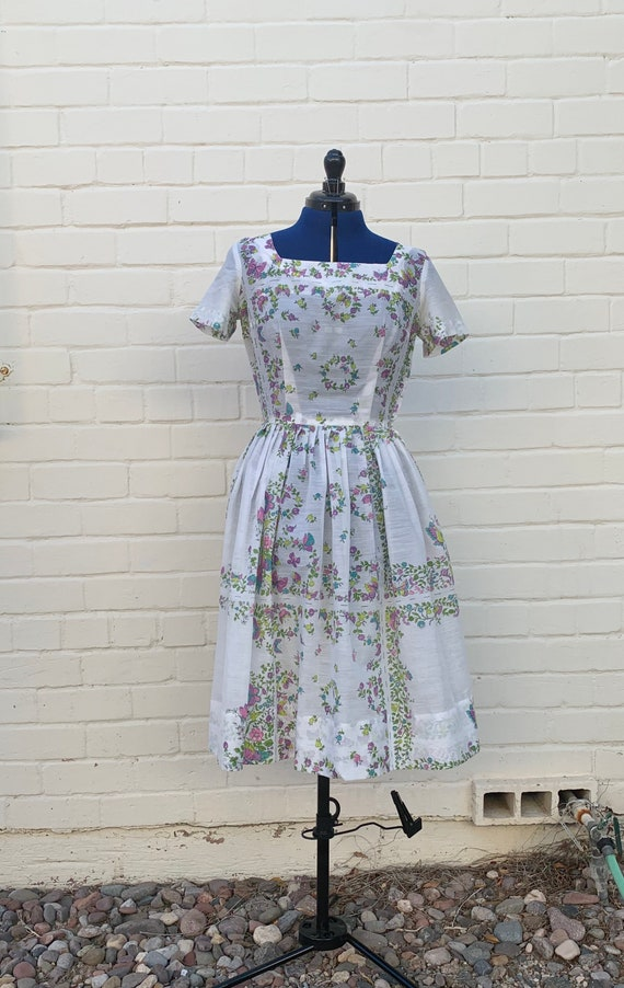 1950s Cotton Voile Day Dress - image 2