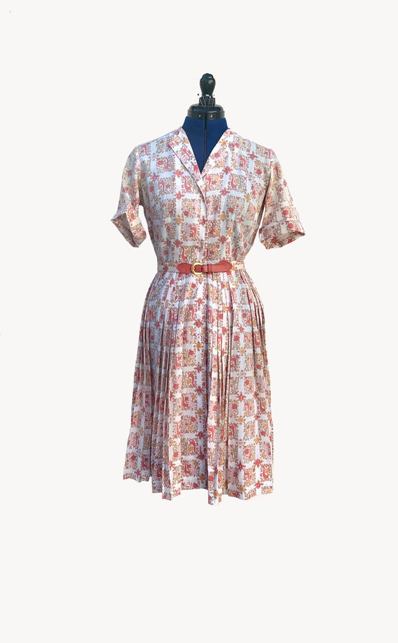 1950s Giraffe Novelty Print Day Dress