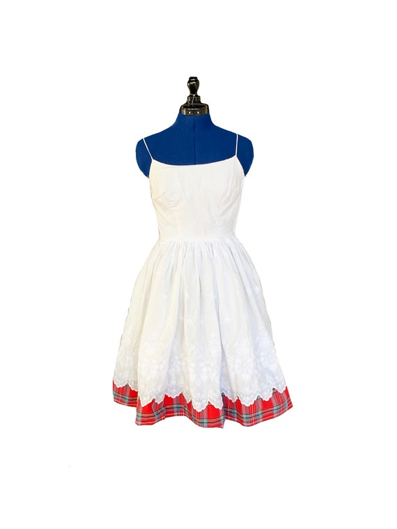 1950s White and Red Tartan Cotton Day Dress
