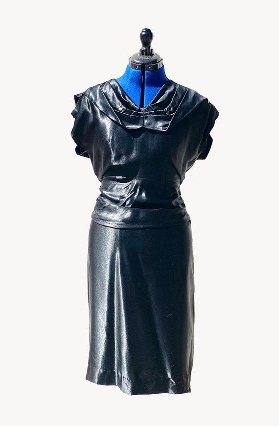 Early 1940s Black Silk Satin Evening Dress