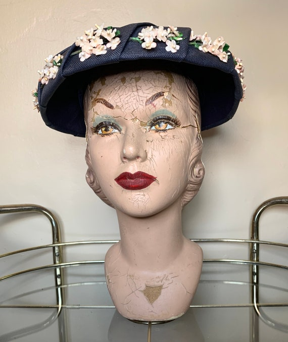 1950s Flower detailed Platter Hat