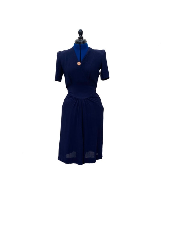 1940s Navy Rayon Day Dress with Tied Waist