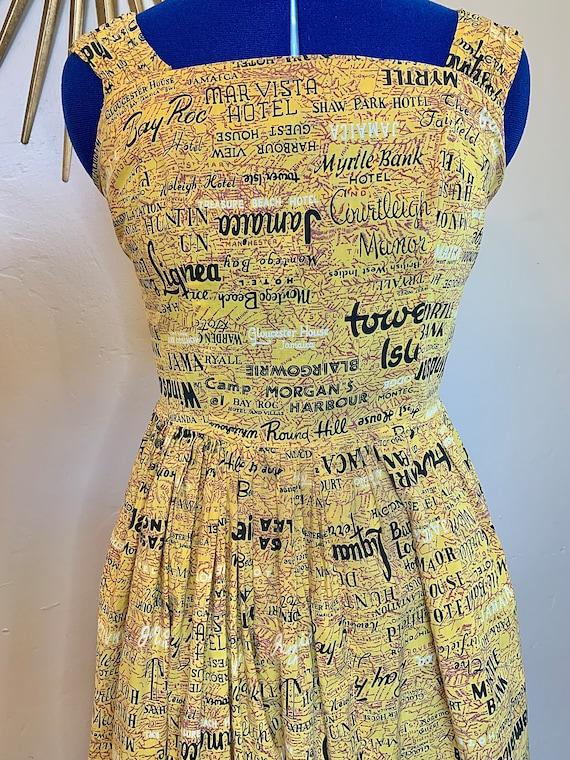 1950s/1960s Jamaica Novelty Print Day Dress - image 2