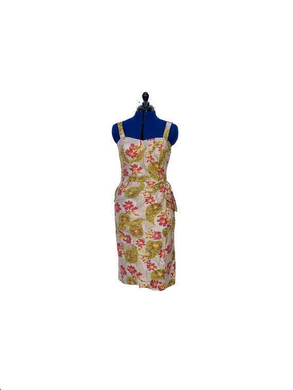 1950s 1960s Hawaiian Sarong Dress with built in Bl
