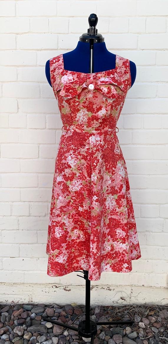1950s Floral Cotton Day Dress