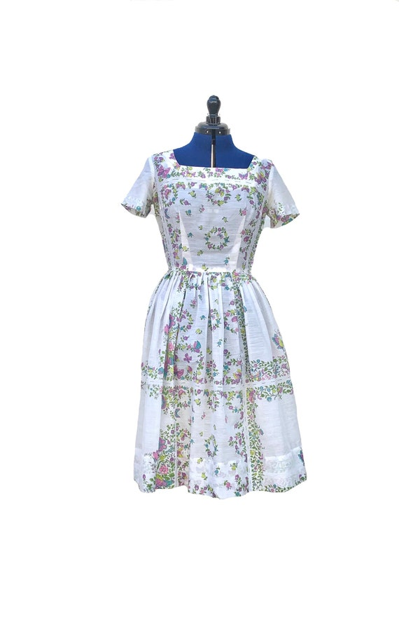 1950s Cotton Voile Day Dress - image 1