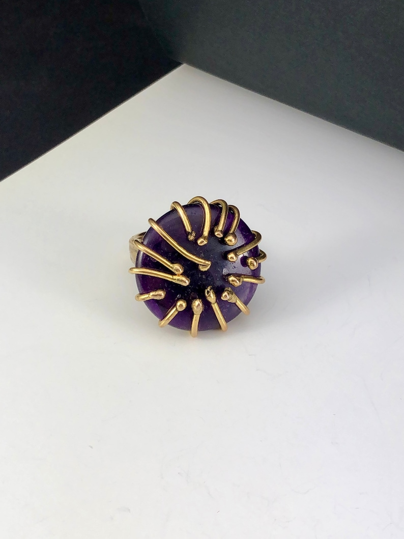 Handcrafted ring with intense AMEThyst disc Giancarlo Piccini Gioielli adjustable size