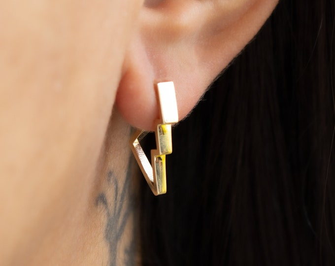 14k Solid Gold Tiny Latch Back Lightning Bolt Earring