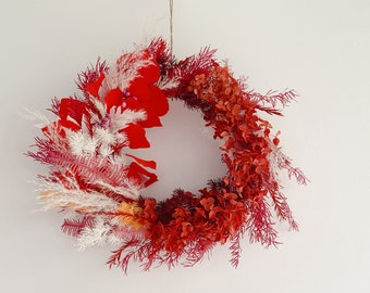 Festive Floral Wreath, Handmade Preserved Flowers Wreath in Red, Festive Decoration and Unique Gift